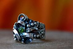 PMC with cz's and dichroic glass - PMC Clay Rings and Jewelry