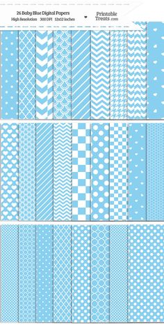 26 Baby Blue Digital Paper Set Download from PrintableTreats.com