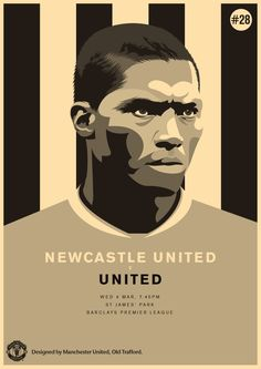 Newcastle United vs Manchester United, 4 March Designed by Match poster. Newcastle United vs Manchester United, 4 March Designed by United. Manchester United Poster, Manchester United Football, Antonio Valencia, United Games, Football Design, Football Match, Sports Drawings, Soccer Art, St James' Park