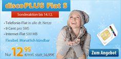 Allnet-Flat Sonderangebot 12,95€ mit Telefon-Flat & 500 MB Internet - http://apfeleimer.de/2013/12/allnet-flat-sonderangebot-1295e-mit-telefon-flat-500-mb-internet - Sonderaktion Allnet-Flat bei DiscoPLUS: Kostenlos telefonieren in alle Netze plus 500 MB Internet-Flat inklusive für 12,95 Euro monatlich (mit Option monatlich zu kündigen) – das alle im O2 Netz. Nach dem guten Anklang der WinSIM Aktion (die aktuell übrigens immer noch verfügbar ist) sehen ...