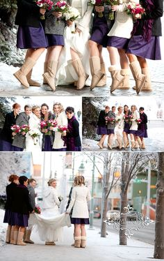 Alaska weddings require nice cozy boots for any occasion-that's just cute. For a winter wedding Winter Wedding Boots, Winter Wedding Outfits, Winter Wonderland Wedding, Winter Weddings, Wedding Pics, Wedding Bells, Dream Wedding, Wedding Stuff, Wedding Ideas