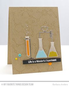 Handmade card from Barbara Anders featuring Laina Lamb Design Undeniable Chemistry and Chemistry Set Die-namics
