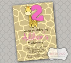 Girl Giraffe birthday/ baby shower printable 5x7 4X6 or 4x5.5 party invitation