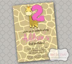 Girl Giraffe birthday/ baby shower printable 5x7 4X6 or 4x5.5 party invitation