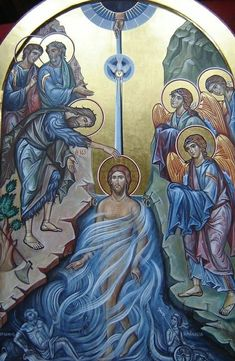Baptism of Christ Religious Images, Religious Icons, Religious Art, Early Christian, Christian Art, Christian Paintings, Byzantine Icons, Byzantine Art, Holy Art