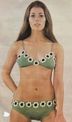 Vintage Crochet Pattern - Flower Power Bikini Vintage Crochet Pattern Flower Power by mB Bikini Vintage, Vintage Swimsuits, 60s And 70s Fashion, Retro Fashion, Trendy Fashion, Vintage Fashion, Beach Fashion, Retro Mode, Mode Vintage