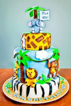 Baby Shower Cake.  For more safari baby shower ideas go to: http://modernbabyshowers.blogspot.com