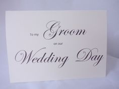 To My Groom Card Wedding Cards On Our Day