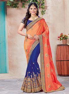 Buy Orange Crepe Half N Half Saree 120482 with blouse online at lowest price from vast collection of sarees at m.indianclothstore.c.
