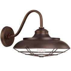 """Restoration Barn Outdoor Sconce- Large Add restoration style to your urban farmhouse, city loft or country retreat with this large burnished bronze outdoor wall light. 1-100watt medium base bulb. Wet rated. (13.4""""Hx16.25""""Wx19""""ext.)"""