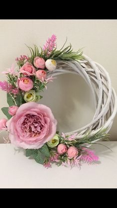 Shop for handmade, vintage, custom, and unique gifts for everyone Grapevine and pink florals Wreath Crafts, Diy Wreath, Door Wreaths, Yarn Wreaths, Ribbon Wreaths, Tulle Wreath, Floral Wreaths, Burlap Wreaths, Diy Spring Wreath