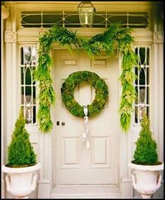 moss wreath with satin ribbon