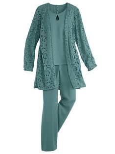 s dress code: a beautiful, lightweight set that … Lace Duster Pants Set – Spring?s dress code: a beautiful, lightweight set that gracefully takes you from day to evening. Open-front duster has allover lace. Mother Of The Bride Plus Size, Mother Of The Bride Suits, Mother Of Bride Outfits, Mother Of Groom Dresses, Women's Fashion Dresses, Hijab Fashion, Stylish Dresses For Girls, Casual Dresses, Wedding Pants