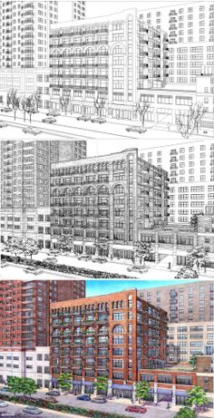 Loft Building. Drawing Process.  Wireframe, Inked Drawing, Color.  Rendering by Bruce Bondy, Bondy Studio.