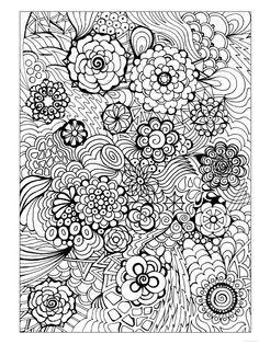 Flowers Abstract Doodle Zentangle Paisley Coloring Pages Colouring Adult Detailed Advanced Printable Kleuren Voor Volwassenen Coloriage