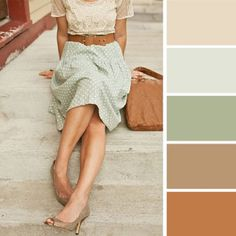 Retro style with shades of beige Colour Combinations Fashion, Color Combinations For Clothes, Fashion Colours, Colorful Fashion, Colour Pallette, Colour Schemes, Color Trends, Color Combos, Color Patterns