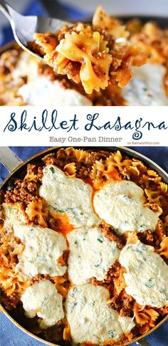Easy family dinner ideas just got a little more delicious with this Skillet Lasagna. It's an all in one skillet dinner that you will make again & again. on kleinworthco.com