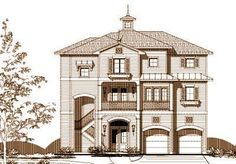 Coastal Style House Plans - 3557 Square Foot Home , 3 Story, 3 Bedroom and 3 Bath, 2 Garage Stalls by Monster House Plans - Plan 19-1225