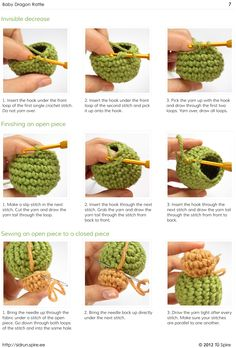 Amigurumi Tutorial: Invisible Decrease, Finishing an Open Piece, Sewing an Open Piece to a Closed Piece