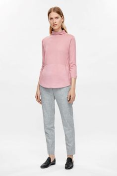 COS image 6 of Silk panel high-neck jumper in Pink