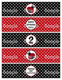 36fa6b723c Printable M2M Ladybug Red   Black Water Bottle Label Wraps