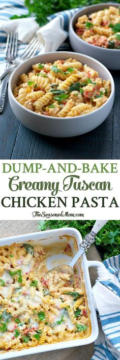Dump-and-Bake Creamy Tuscan Chicken Pasta...you don't even have to boil the noodles! Dinner   Dinner Recipes   Dinner Ideas   Dinner Recipes Easy   Chicken Recipes   Pasta Recipes