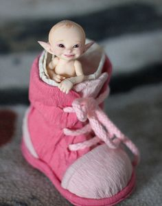 The elf races survived the Nuclear war . You might find elf kids that have gotten lost. The elf race survived by living under ground . Recent more and more elves are starting to live above ground Magical Creatures, Fantasy Creatures, Kobold, Elves And Fairies, Clay Fairies, Baby Fairy, Clay Baby, Clay Dolls, Bjd Dolls