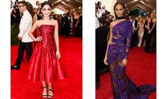 Vanessa Hudgens, in H&M tailor made dress with  Swarovski crystals and Joan Smalls in Roberto Cavalli at the MET gala