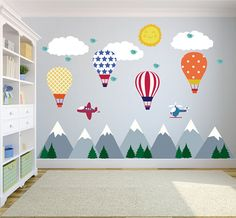 Mountain Wall Decals with Hot Air Balloons Wall Decals, Modern Nursery Decor, Wall Mural