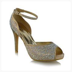2a978569ffde Essex Glam Womens Bridal Peep Toe Gold Glitter Sparkly Platform Ankle Strap  Heels 8 B(M) US ( Partner Link)