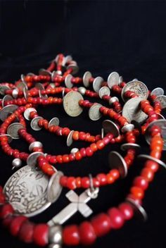 Antique Silver Cross, Mexican & Guatemalan Coins, Vintage Trade Bead  Chachal Necklace