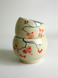 Pair of HandPainted Ceramic Bowls  tea  coffee  by liveclay, $48.00
