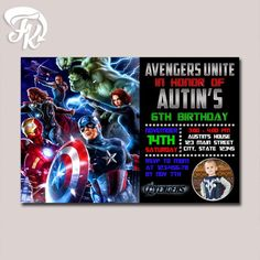 The Avengers Marvel Heroes Birthday Party Card Digital Invitation $9.19 USD