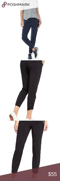 Athleta Aspire Athletic Pant, Black Athleta Aspire athletic pant.  PRODUCT DETAILS The Featherweight Stretch™ pant that goes from studio to street.  Supremely sleek fabric  CUSTOM FIT: NeverEnd drawstrings at the ankle let you scrunch and tie the leg for a custom look and length 4 Pockets: 2 front angled zip pockets create a slimming effect, 2 rear welt pockets for stashing on the go Ruching in all the right places for a just-right fit Elastic waist cinches in a perfect fit without any…