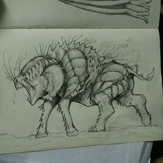 Monkey? Insect? I really don't know how to rename this creature.  #monster #what #? #creatures #creaturesdesign  #monstersdesign #alien #sketch #creepy #scary