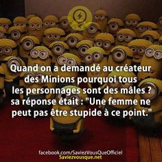 When we asked the creator of the Minions why all the characters are … - Humor Memes Lol, Quote Citation, Minions Quotes, Despicable Me, Funny Cute, Fun Facts, Funny Jokes, The Creator, Parfait