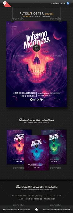 Inferno Madness - Party Flyer, Poster Template A3