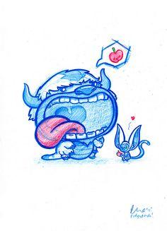 Blue Doodle Appa and Momo! Blue Drawings, Cool Drawings, Cartoon Sketches, Art Sketches, Panda Art, Cute Doodles, Disney Drawings, Disney Art, Cute Art