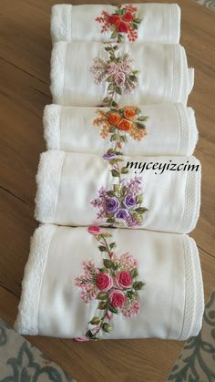 Floral Embroidery Patterns, Embroidery Flowers Pattern, Couture Embroidery, Crochet Flower Patterns, Hand Embroidery Designs, Hand Embroidery Videos, Towel Embroidery, Ribbon Embroidery, Embroidery Stitches