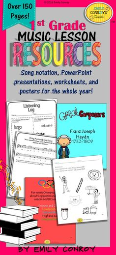 Music Resources for 1st Grade-Over 150 pages of worksheets, assessments, PowerPoints, songs, and manipulatives for the WHOLE year!