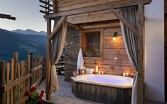 Book a Luxury-Chalet in Austria – modern lifestyle with rustic charm. The Almdorf Sankt Johann im Pongau – 11 Luxury-Chalets for winter holidays. Outdoor Tub, Outdoor Decor, Bed And Breakfast, Romantic Resorts, Wood Stone, Modern Luxury, Outdoor Living, Places To Go, Beautiful Places