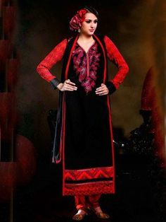 Black Georgette Suit With Resham Work