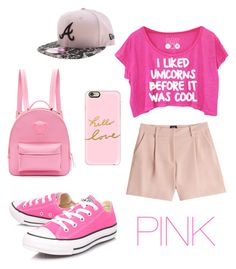 """""""SCHOOL! (pink edition)♥♥"""" by blayx ❤ liked on Polyvore featuring McQ by Alexander McQueen, Converse, New Era, Versace and Casetify"""