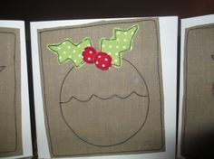 Fabric Christmas Cards - Set of 3