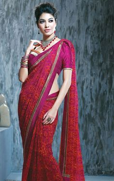 Picture of Ideal Maroon and Pink Designer Party Wear Saree