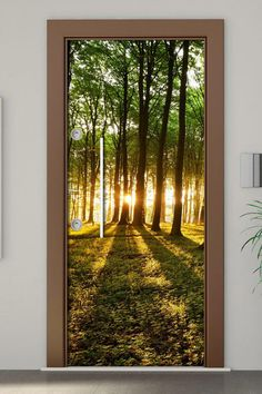 Door Mural Forest Self Adhesive Vinyl Decal Wall Sticker Fridge warp size x x Orange Front Doors, Front Door Colors, Beautiful Landscape Wallpaper, Beautiful Landscapes, Forest Wallpaper, Photo Wallpaper, Narrow Hallway Decorating, Moss Decor, Door Coverings
