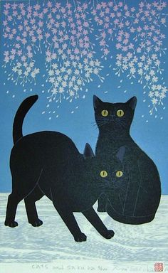 """Cats and Sakura"" by Tadashige Nishida -- Japanese Woodblock Print, 2013 -- http://www.ebay.com/itm/TADASHIGE-NISHIDA-Japanese-Woodblock-Print-CATS-AND-SAKURA-/140987176836?pt=LH_DefaultDomain_0&hash=item20d37d9784"