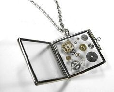 Steampunk Necklace Vintage COOL Hinged Glass Book Locket Necklace Gears Watch Dial UNISEX Steam Punk Jewellery - Jewelry by edmdesigns. $75.00, via Etsy.