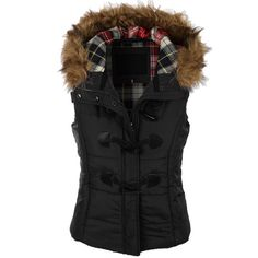 LE3NO Womens Classic Toggle Padded Puffer Jacket Vest with Faux Fur... ($34) ❤ liked on Polyvore featuring outerwear, vests, plaid puffer vest, puffer jacket, puffy vest jacket, puffer vest and puff vest