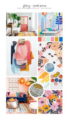 Mood board for late summer baby shower. Modern floral painting + illustration with a Matisse influence.